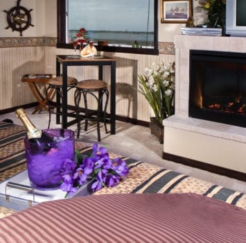 room, bed, champagne, fireplace, window, beach, table