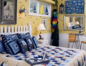 room, bed, artwork