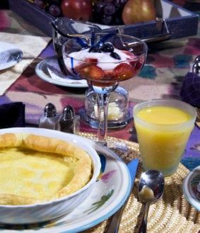breakfast, soufflé, orange juice, drink